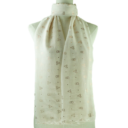 Beige All Season Scarf with Gold Foil Cactus Print