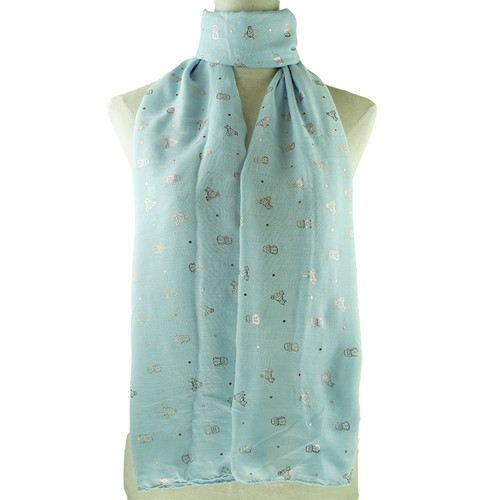 Blue All Season Scarf with Gold Foil Cactus Print