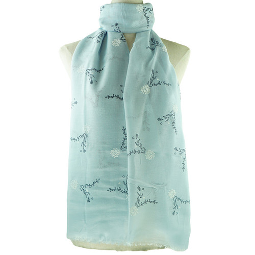 Blue Floral All Seasons Scarf Premium Quality