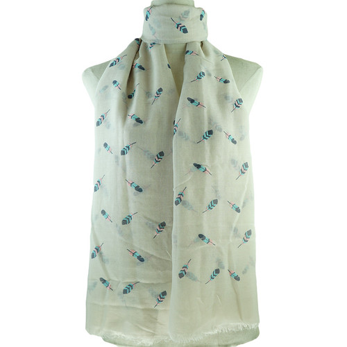 Beige Multi Colour Feather All Season Scarf Premium Quality