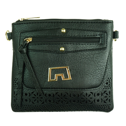 Black Laser Cut With Matalic design Handbag