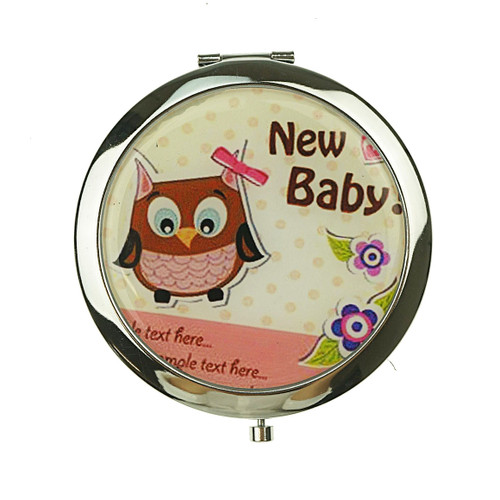 Owl Pattern Design Round Mirror