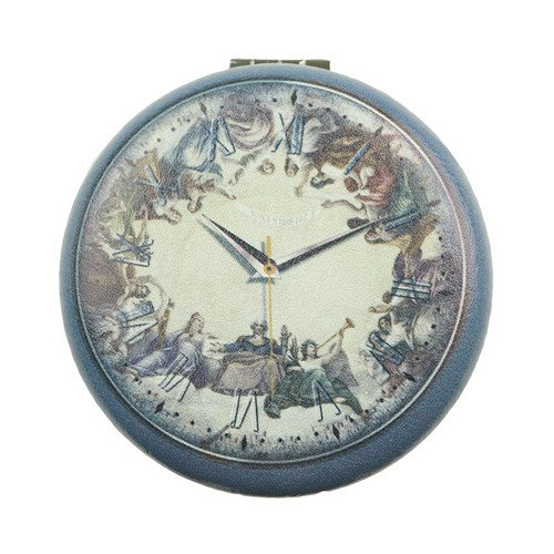 Navy Designed Clock Pattern Round Mirror