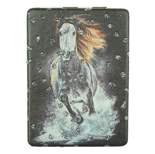 Black Horse Pattern Rectangle Diamond Mirror