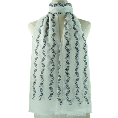 White Small Leaf Pattern All Season Scarf