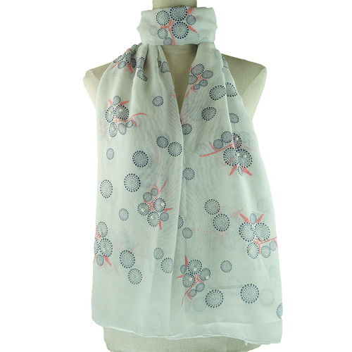White Bubble Pattern All Season Scarf