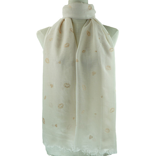 Beige Golden Lips Pattern All Season Scarf