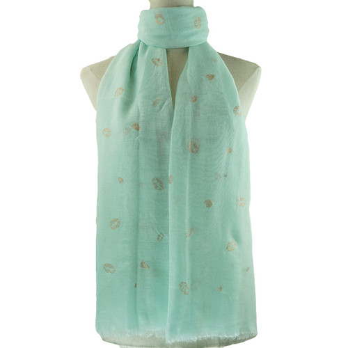 Teal Golden Lips Pattern All Season Scarf