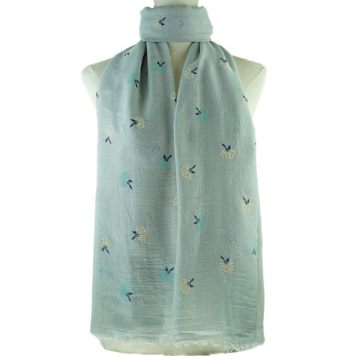Grey Dandelion Print All Season Scarf