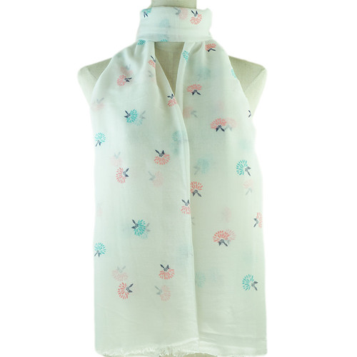 White Dandelion Print All Season Scarf