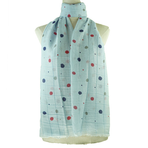 Blue Colorful Dots Print All Season Scarf