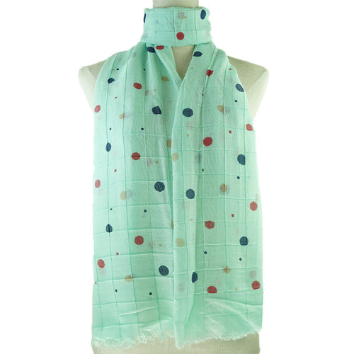 Teal Colorful Dots Print All Season Scarf