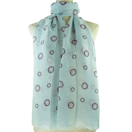 Blue Round Dots All SeasON Scarf