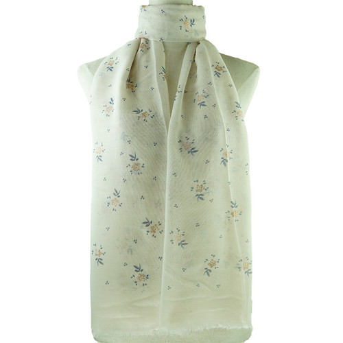Beige Floral Print All Season Scarf