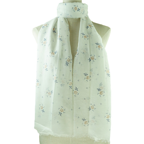 White Floral Print All Season Scarf
