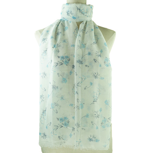 Blue Vintage Floral Pattern All Season Scarf