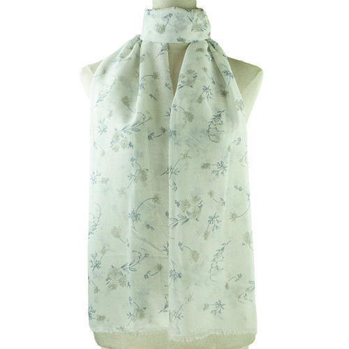 Grey Vintage Floral Pattern All Season Scarf