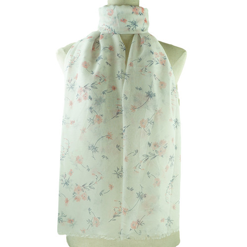 Pink Vintage Floral Pattern All Season Scarf