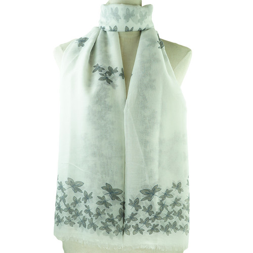 Grey Leaf Pattern All Season Scarf