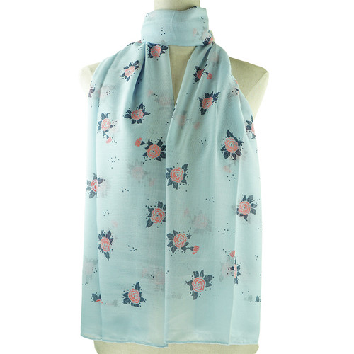 Blue Pink Floral Pattern All Season Scarf