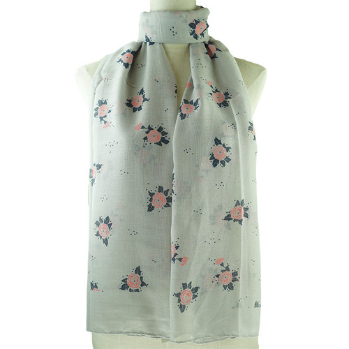 Grey Pink Floral Pattern All Season Scarf