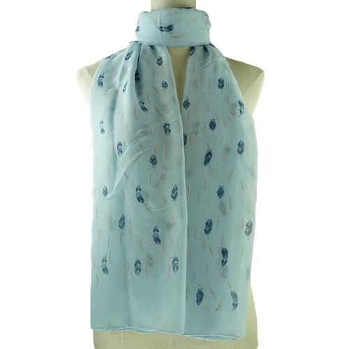 Blue Feather Pattern All Season Scarf