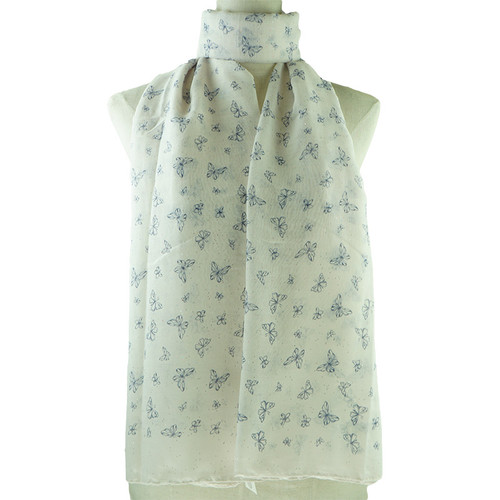 Beige Butterflies Pattern All Season Scarf