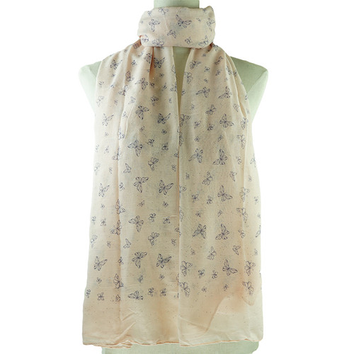 Pink Butterflies Pattern All Season Scarf
