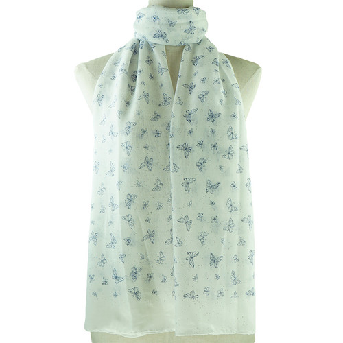 White Butterflies Pattern All Season Scarf