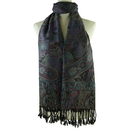 Black Vintage Flower Print High Quality Scarf