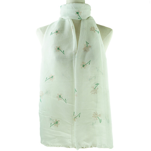 Green Flower Print All Seasons Scarf