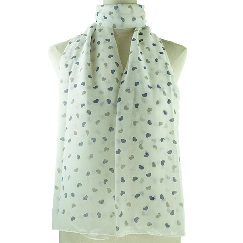 White Love Print All Seasons Scarf