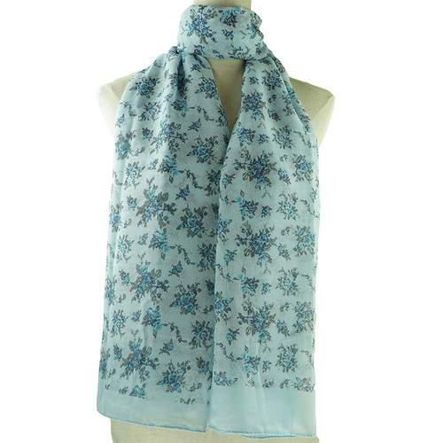 Blue Folral Print All Seasons Scarf