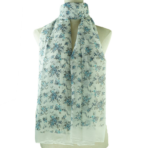 White Folral Print All Seasons Scarf