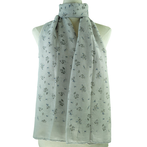 Grey Floral Pattern All Seasons Scarf