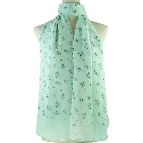Teal Floral Pattern All Seasons Scarf