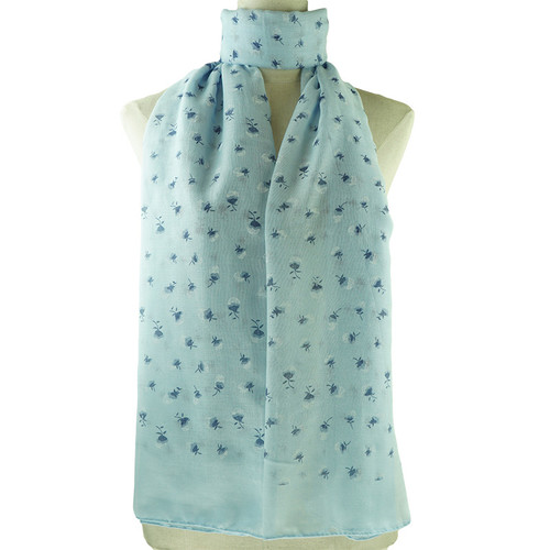 Blue Purple Floral Print All Seasons Scarf