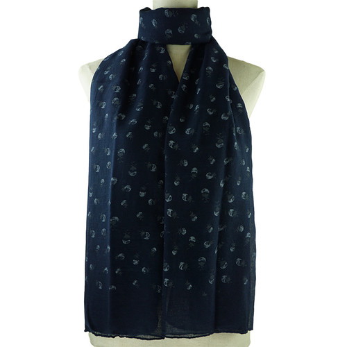 Navy Purple Floral Print All Seasons Scarf