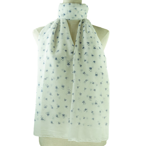 White Purple Floral Print All Seasons Scarf