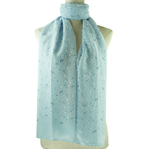 Blue Small Floral Print All Seasons Scarf
