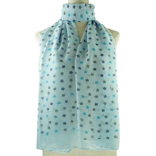 Blue Cute Floral Print All Seasons Scarf