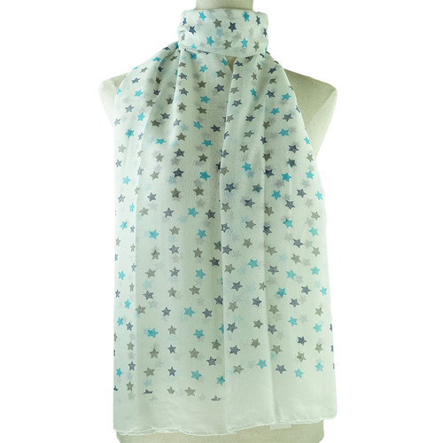 White Cute Floral Print All Seasons Scarf