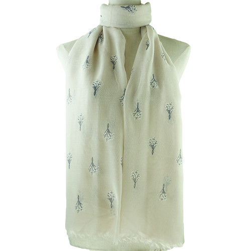 Beige Beautiful Flower Print All Seasons Scarf