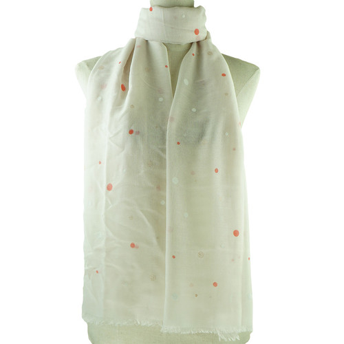 Beige Irregular Dots Print All Seasons Scarf