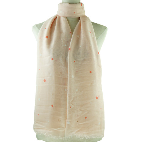 Pink Irregular Dots Print All Seasons Scarf