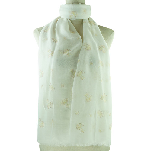 Beige Dandelion Print All Seasons Scarf
