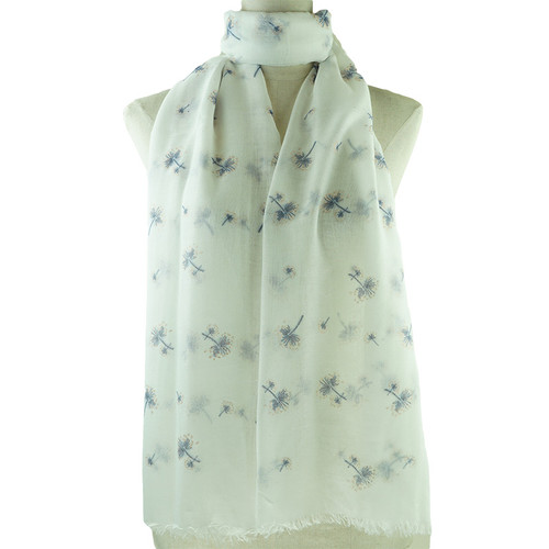 Navy Dandelion Print All Seasons Scarf