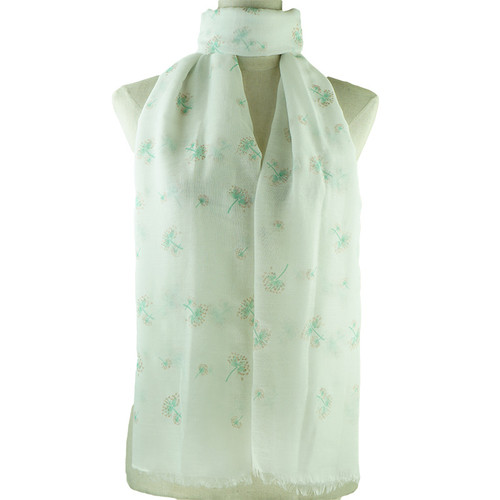 Teal Dandelion Print All Seasons Scarf