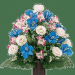 Medium White Rose and Blue Cone