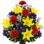 Purple Gerbera and Yellow Lily Mix